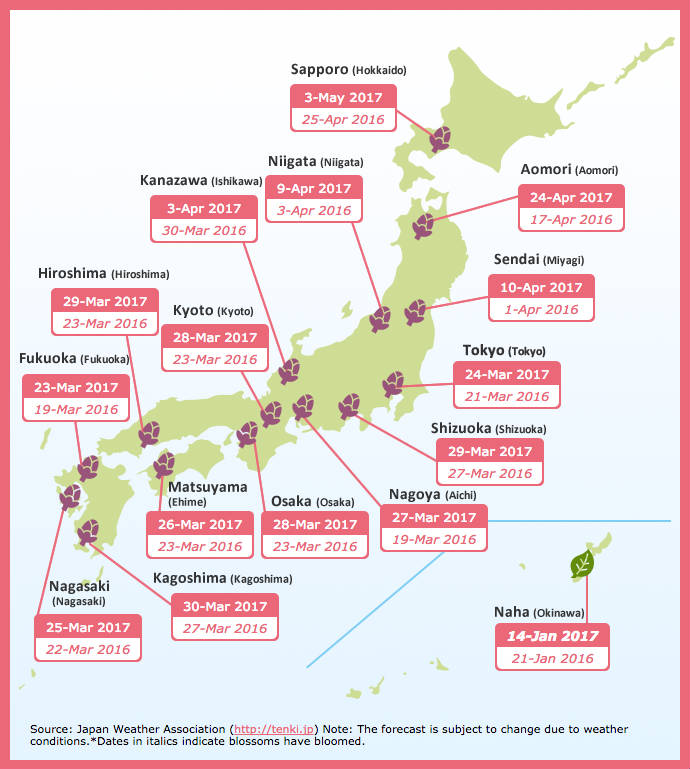 Japanese Culture Calendar Hanami Season - Japan zone map