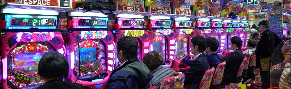 Inside a typical pachinko parlor