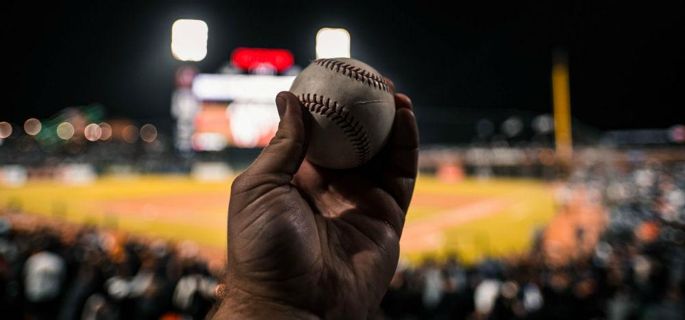 At a baseball night game
