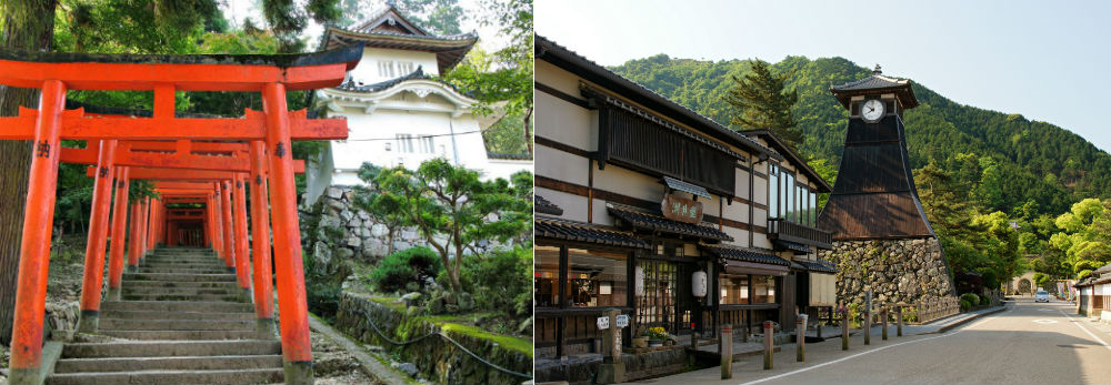 Izushi is known for its torii gates, castle ruins and clock tower