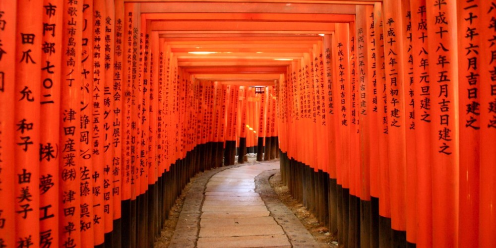 The famous tunnel of torii gates at Inari Shrine