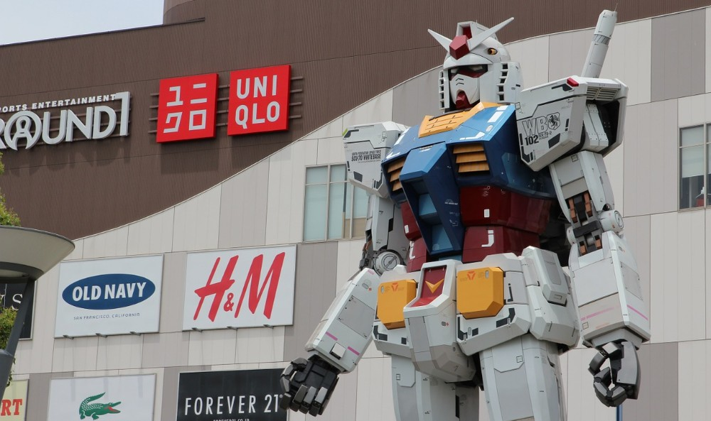 A huge, life-size Mobile Suit Gundam robot at Odaiba in Tokyo