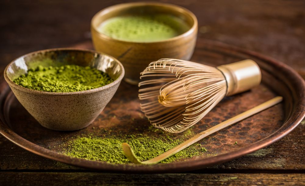 Matcha green tea is traditionally made using a bamboo whisk.