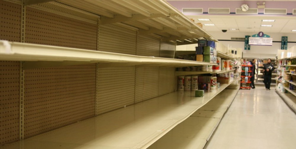 Empty supermarket shelves were a common sight at the beginning of the pandemic.