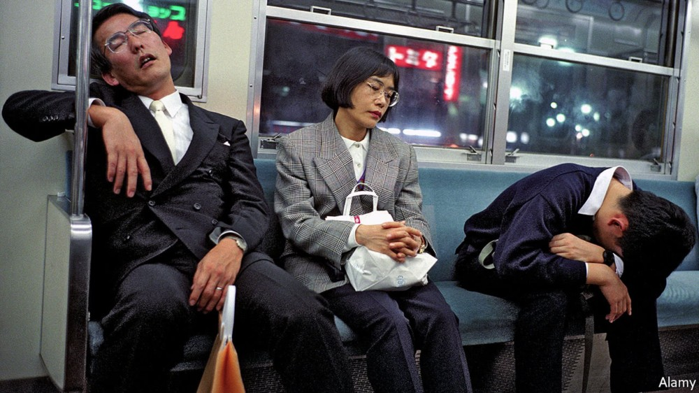 People sleeping in public is a very common sight in Japan.