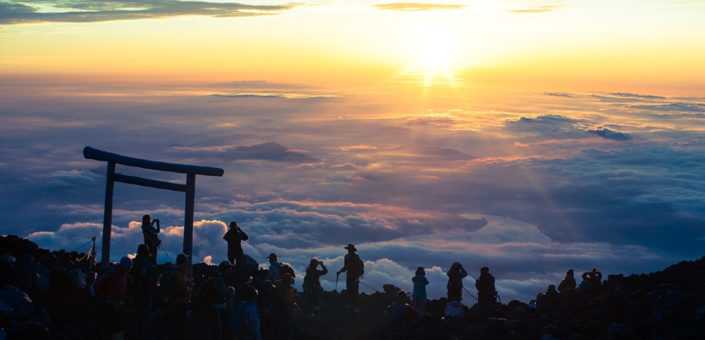 Climbing to the summit of Mt. Fuji to see the sunrise is a popular and strenuous hike.
