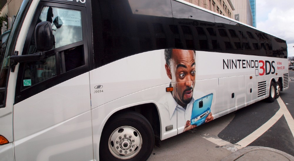 An advertisement for the new Nintendo 3DS on a bus in San Francisco in March 2011.