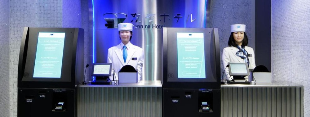 Robot staff await your arrival at Henn na Hotel in Hamamatsucho.