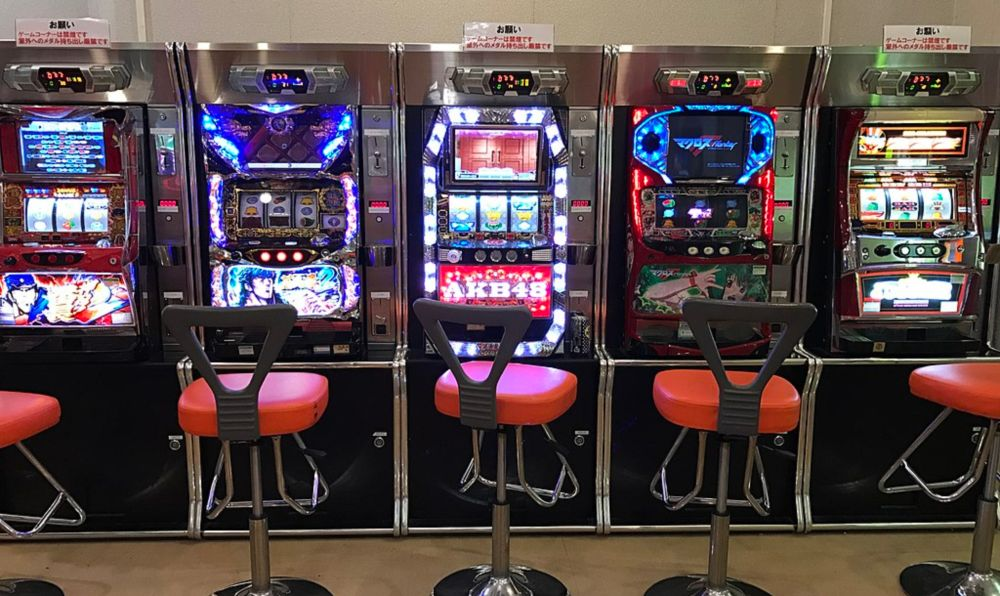 A row of pachislot machines await the influx of new gamblers.