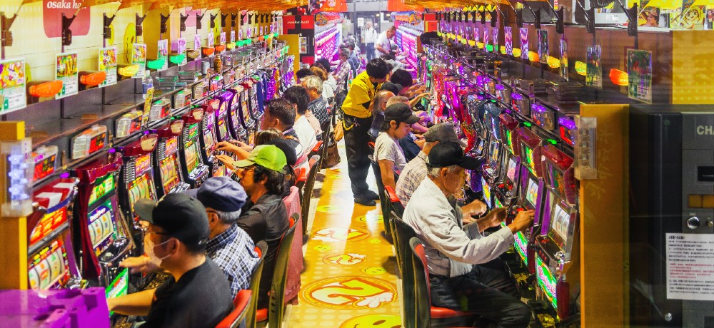 At a glance, a pachinko or pachislot parlor could easily be mistaken for a slot machine arcade.