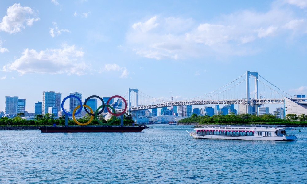 The Olympic rings on a boat in Odaiba, Tokyo Bay.