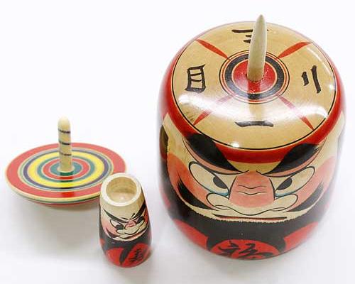 Japanese Toy Tops : Oyako daruma and koma spinning top