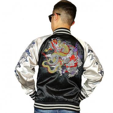 View NEW Sukajan Jacket - Duel Dragons (Embroidered Sleeve, 3L/4L)